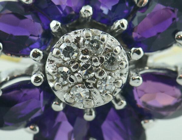 Amethyst Diamantring 585/000 14 K Gelbgold 7 Diamanten zus. 0,07 ct
