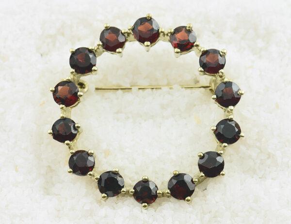 Brosche Granat 333/000 8 K Gelbgold