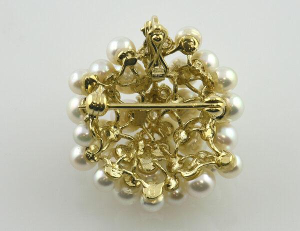 Brosche Zuchtperle 585 14 K Gelbgold 8 Diamanten zus. 0,25 ct