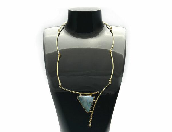 Collier Boulder Opal Handanfertigung 585 14 K Gelbgold 6 Brillanten zus. 0,40 ct