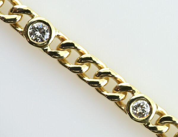 Diamant Armband 585/000 14 K Gelbgold 9 Brillanten zus. 1,00 ct, 20 cm lang
