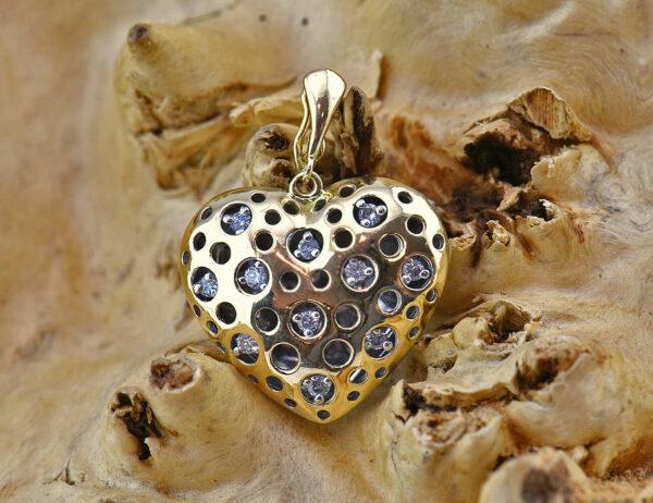 Diamant Herz Anhänger 750 18 K Gelb/Weißgold 11 Brillanten zus. 0,15ct