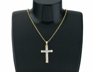 Diamant Kreuz mit Kette 585/000 14 K Gelbgold, 17 Diamanten zus. 0,20 ct