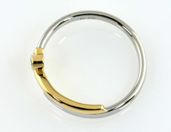 Diamant Ring 950/000 Platin / 750 Gelbgold Brillant 0,02 ct