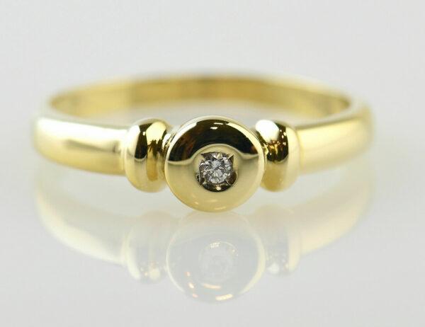 Diamant Solitär Ring 750/000 18 K Gelbgold Brillant 0,03 ct