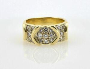 Diamantring 585/000 14 K Gelbgold 25 Brillanten zus. 0,30 ct