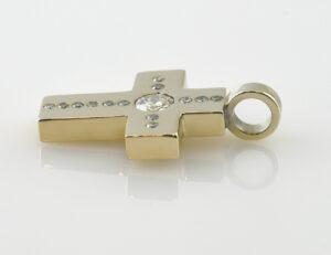 Kreuz Anhänger-Diamant 750/000 18 K Gelbgold 14 Brillanten zus. 0,90 ct