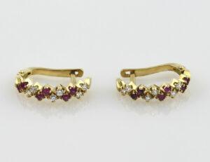 Ohrstecker Klappbrisur Rubin 750 18 K Gelbgold 12 Diamanten zus. 0,35 ct