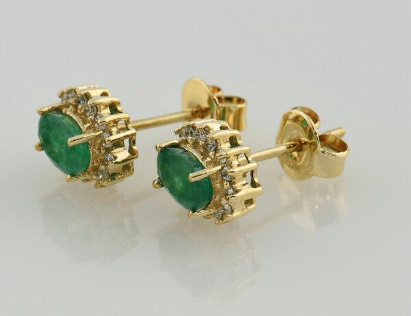Ohrstecker Smaragd 585 14 K Gelbgold 28 Diamanten zus. 0,28 ct