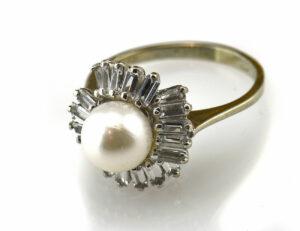Ring Akoyaperle 585/000 14 K Weißgold Zirkonia