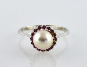 Ring Akoyaperle Rubin 585/000 14 K Weißgold