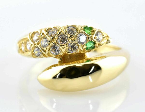 Ring Schlange Smaragd 585/000 14 K Gelbgold Zirkonia