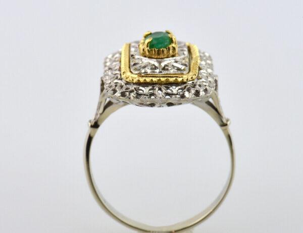 Ring Smaragd 750 18 K Weiß-, Gelbgold