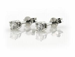 Solitär Brillant Ohrstecker Ohrringe 585 14 K Weißgold, 2 Diamanten zus. 0,43 ct