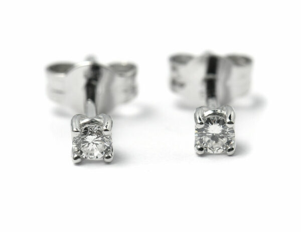 Solitär Brillant Ohrstecker Ohrringe 585 14K Weißgold, 2 Diamanten zus. 0,124 ct