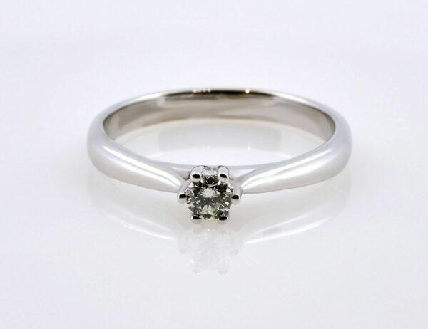 Solitär Diamantring 585/000 14 K Weißgold Brillant 0,17 ct