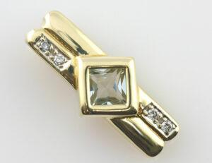 Anhänger Blautopas 585 14 K Gelbgold 4 Diamant zus. 0,04 ct