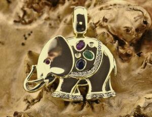 Anhänger Saphir, Rubin, Smaragd 585 14 K Gelbgold 27 Diamanten zus. 0,25 ct