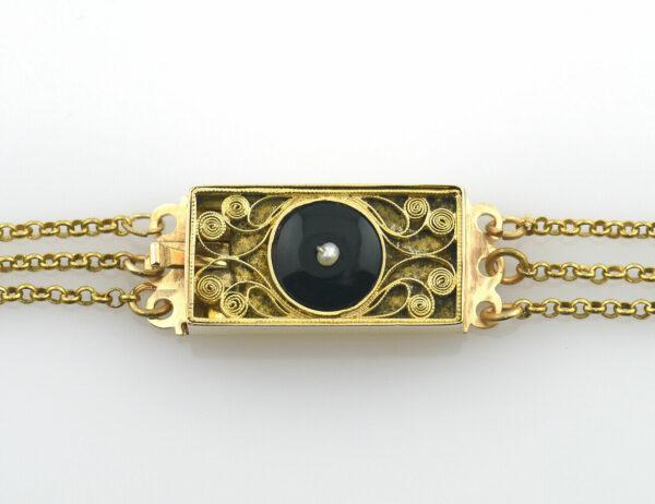 Antikes Collier 585/000 14 K Gelbgold mit Onyx, Rubin, Flussperlen, 45 cm lang