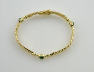 Armband Smaragd 18,5 cm 750/000 18 K Gelbgold 6 Diamanten zus. 0,40 ct
