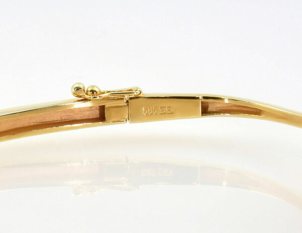 Armreif 585/000 14 K Gelbgold Keshi Perle Brillant 0,03 ct