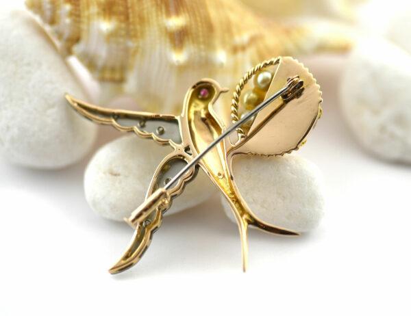 Brosche Rubin, Perle 585 14 K Weiß/Gelbgold 6 Diamanten zus. 0,08 ct