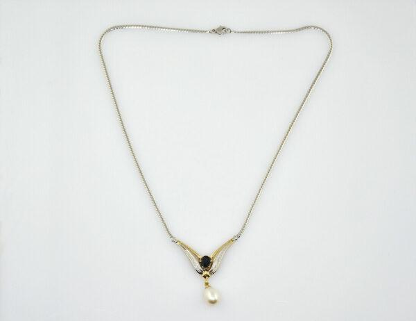 Collier 585/000 14 K Weißgold, Zuchtperle, Saphir, 4 Diamanten zus. 0,04 ct