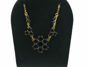 Collier Granat 333/000 8 K Gelbgold, 42 cm lang