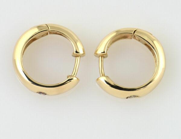 Creolen 585/000 14 K Gelbgold 2 Diamanten zus. 0,10 ct