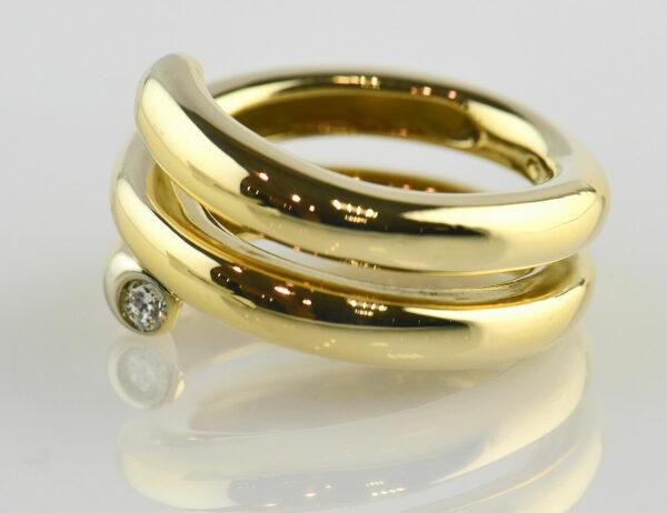 Diamant Ring 750/000 18 K Gelbgold 2 Brillanten zus. 0,10 ct