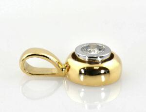 Diamant Solitär Anhänger 750/000 18 K Gelb-Weißgold Brillant 0,18 ct