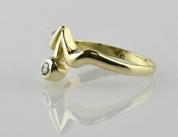 Diamant Solitär Ring 585 14 K Gelbgold Brillant 0,05 ct