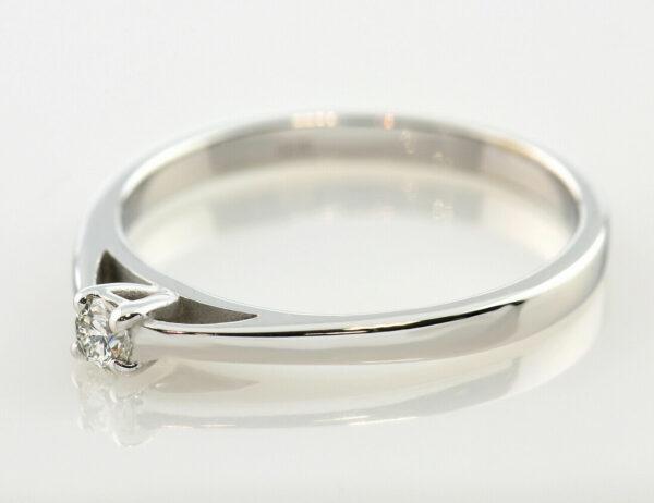 Diamantring Solitär 585 14 K Weißgold Brillant 0,08 ct