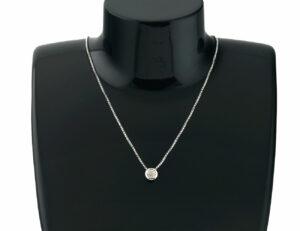 Kette mit Anhänger 585/000 Weißgold, 7 Diamanten zus. 0,07 ct, 39 cm lang
