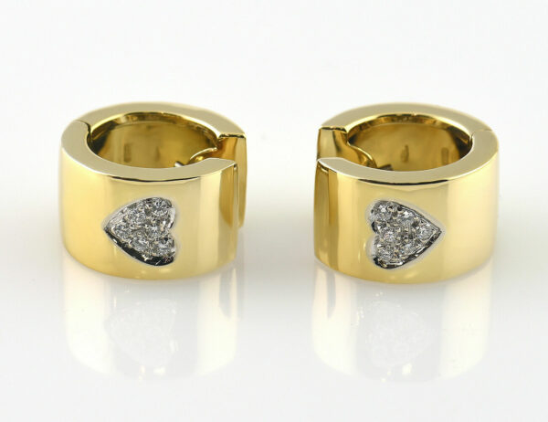 Ohrringe Creolen 750/000 18 K Gelbgold, 12 Diamanten zus. 0,12 ct