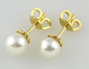 Ohrringe Perle 750/000 18 K Gelbgold Perlohrstecker