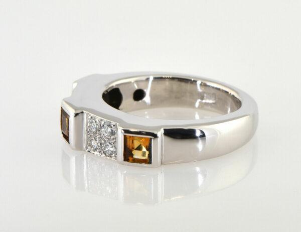 Ring Citrin 585/000 14 K Weißgold 8 Brillanten zus. 0,32 ct