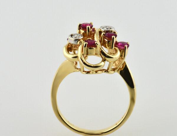 Rubin Diamantring 585 14 K Gelbgold 3 Diamanten zus. 0,07 ct