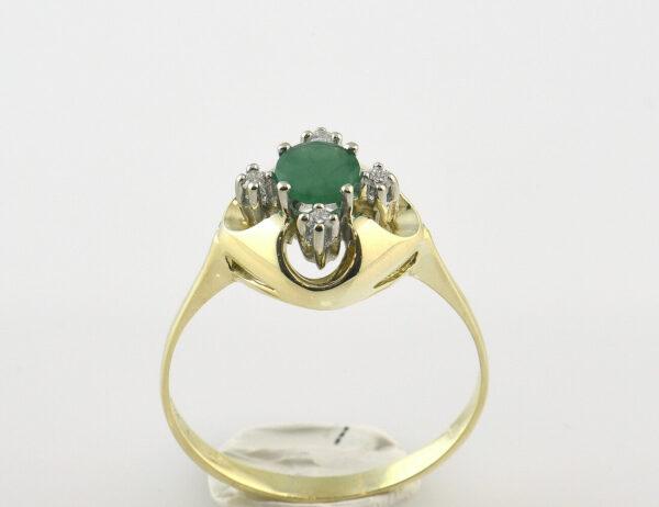 Smaragd Ring 585/000 14 K Gelbgold, 4 Brillanten zus. 0,10 ct