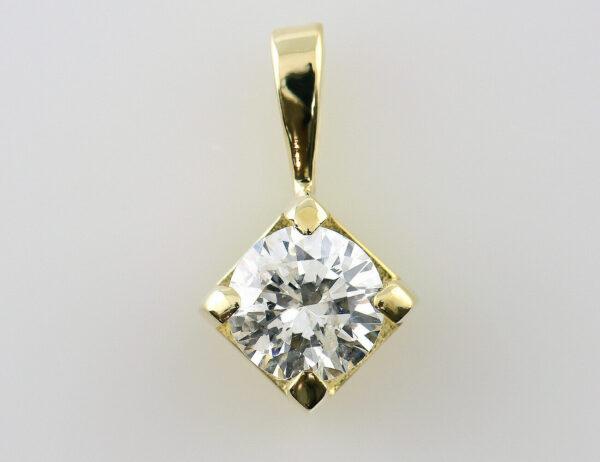 Solitär Anhänger Diamant 585/000 14 K Gelbgold Brillant 0,60 ct