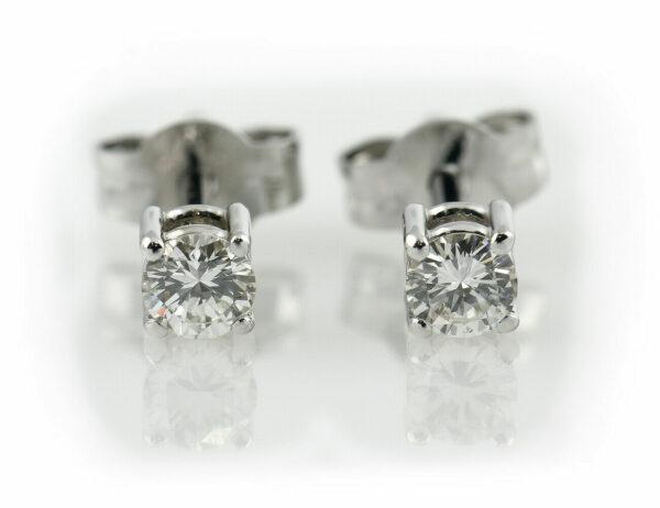 Solitär Brillant Ohrstecker Ohrringe 585 14 K Weißgold, 2 Diamanten zus. 0,30 ct