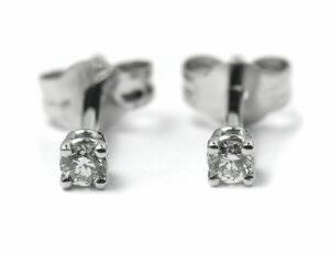 Solitär Brillant Ohrstecker Ohrringe 585 14K Weißgold, 2 Diamanten zus. 0,218 ct