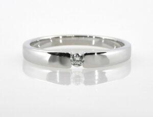 Solitär Diamantring 585/000 14 K Weißgold Brillant 0,07 ct