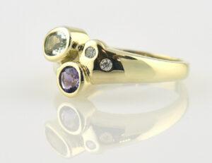 Amethyst Aquamarin Diamantring 585 14 K Gelbgold 2 Brillanten 0,03 ct
