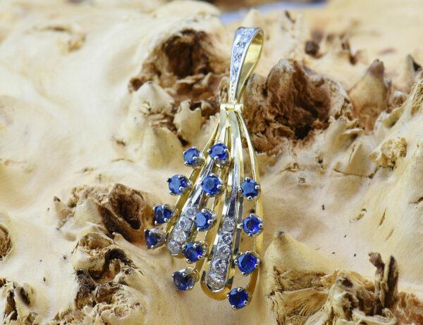 Anhänger 585 14 K Gelbgold / 14 Diamanten zus. 0,57 ct / 13 Saphire