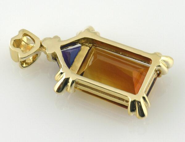 Anhänger Citrin Amethyst 585/000 14 K Gelbgold, 6 Brillanten zus. 0,07 ct