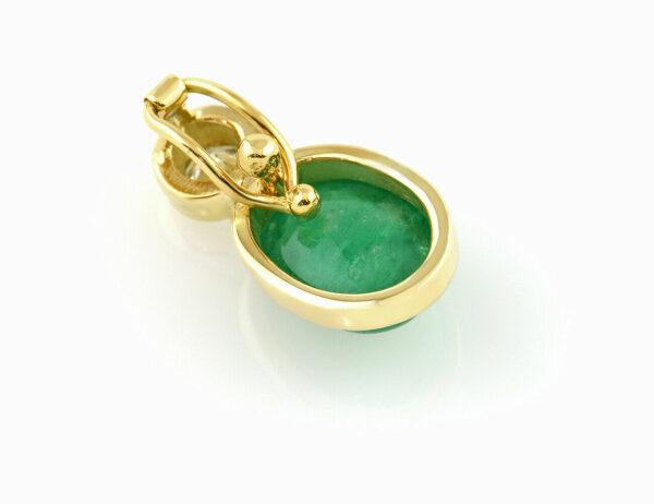 Anhänger Clip Smaragd 585 14 K Gelbgold Brillant 0,18 ct
