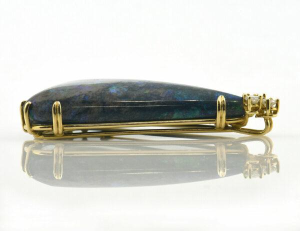 Anhänger Handanfertigung Opal 750/000 18 K Gelbgold, 3 Brillanten zus. 0,52 ct