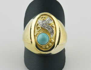 Antiker Ring, Diamant, Türkis, 585 14 K Gelbgold, 6 Diamanten zus. 0,05 ct