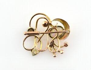 Brosche 333/000 8 K Gelbgold Opal Perle 2 Diamanten zus. 0,35 ct